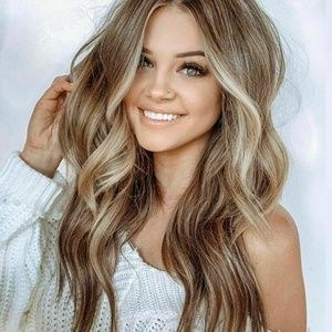 Fashion Women's Long Curly Wig Brown Gold Blonde